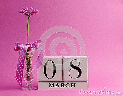 Pink theme calendar for International Women s Day, March 8 - with copy space.