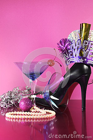 Free Pink Theme Happy New Year Party With Vintage Blue Martini Cocktail Glass And New Years Eve Decorations Stock Images - 40692234
