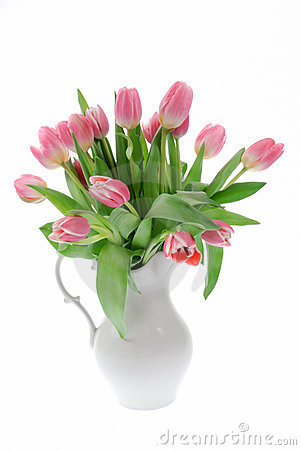 Free Pink Tulips In A White Vase Stock Images - 4660994