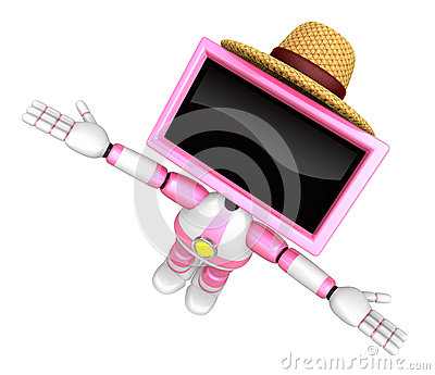 Pink TV robot flying towards the sky. Create 3D Television Robot