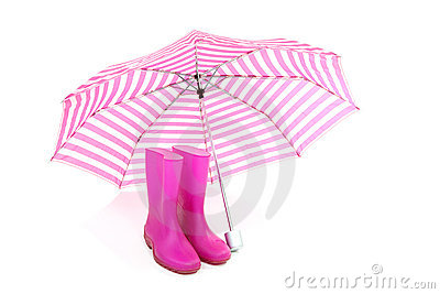 Pink umbrella and rain boots