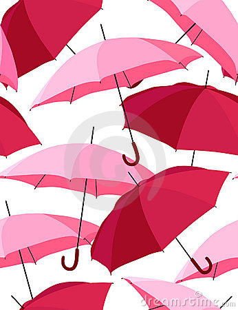 Pink umbrellas - vector seamless pattern