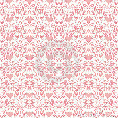 Pink valentine hearts folk art seamless background