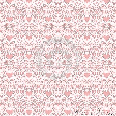 Free Pink Valentine Hearts Folk Art Seamless Background Stock Photo - 17721590