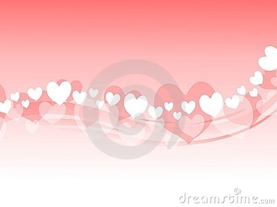 Pink Valentine Hearts Swoosh Background