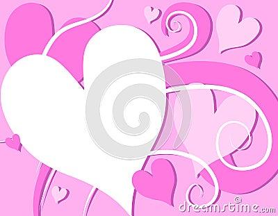 Pink Valentine s Day Hearts Swirls