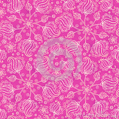 Pink vector doodle flowers seamless pattern