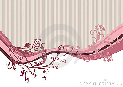Pink vector flowers on striped background
