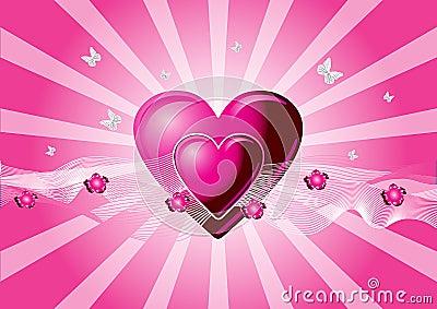 Pink vector hearts