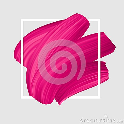 Free Pink Vector Lipstick Smear. Female Girly Logo. Paint Brush Stroke In Frame, Banner Template. Royalty Free Stock Image - 111851106
