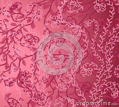Pink Vine Background Pattern