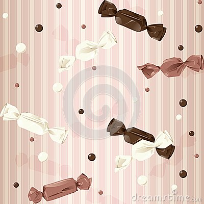 Pink vintage seamless background with candy