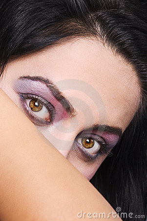 Pink violet make up woman eyes