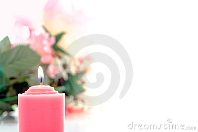 Pink Votive Candle and Pastel Flower Bouquet