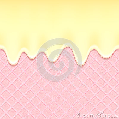 Free Pink Wafer And Flowing Cream - Vector Background Stock Photo - 55369710