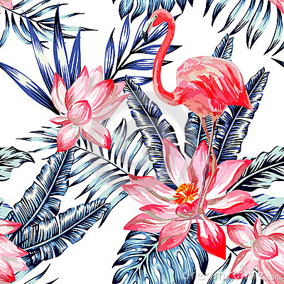 Free Pink Watercolor Flamingo And Blue Palm Leaves Tropical Seamless Stock Photos - 75095043