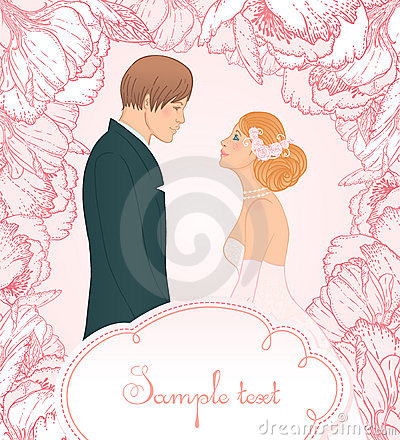 Pink wedding  background with couple