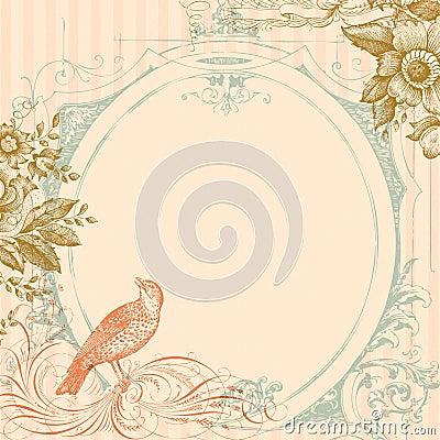 Pink Wedding Bird and Flowers Background