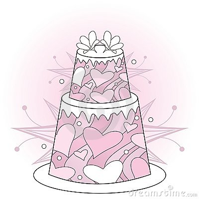 Pink wedding cake with hearts