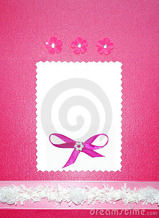 Pink Wedding paper card invitation or photo frame