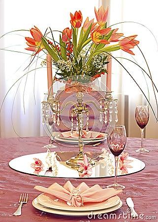 Pink wedding table