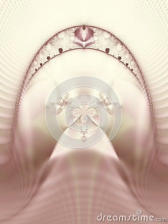 Pink Wedding Tiara Veil Flower