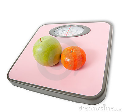 Pink Weighing Scales and fruits