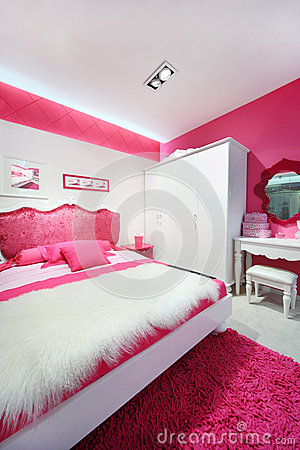 Pink white beautiful bedroom royalty free stock image - Chambre blanche et rose ...