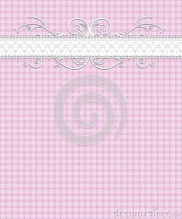 Pink White Gingham Pattern, Lace, Flourish