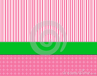Pink, white & green striped background