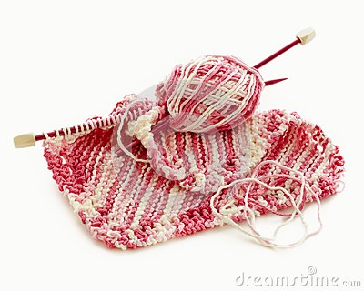 Pink and white Hand Knitted