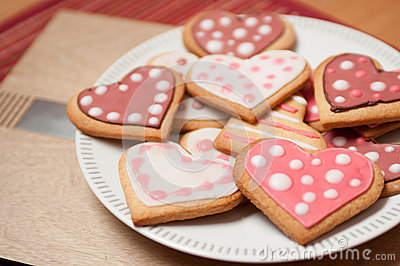 Pink and White Heart Cookies