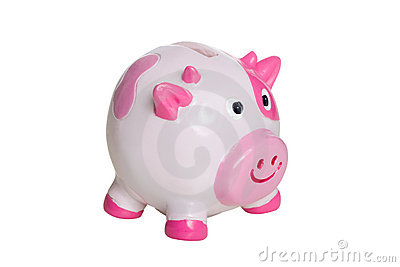 Pink and white piggy bank
