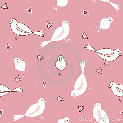Pink and white seamless bird pattern