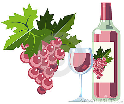 Pink wine with grapes, bottle and glass