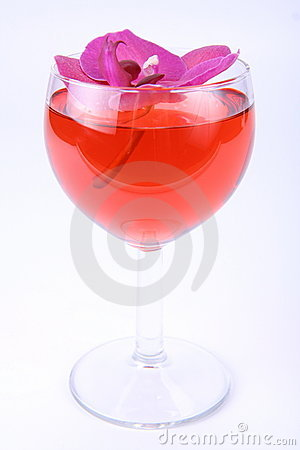 Free Pink Wine With An Orchid Royalty Free Stock Photography - 14864557