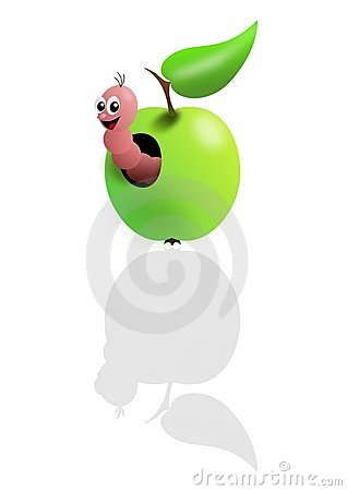 Pink worm in green apple