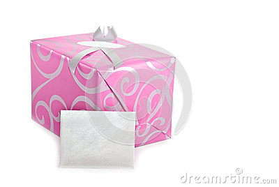 Pink wrapped present with greeting card