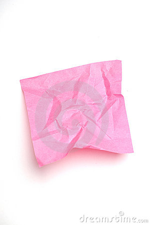 Pink wrinkled post it note