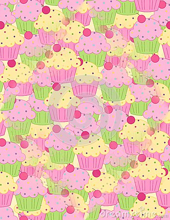 Pink Yellow Cupcakes Seamless Background