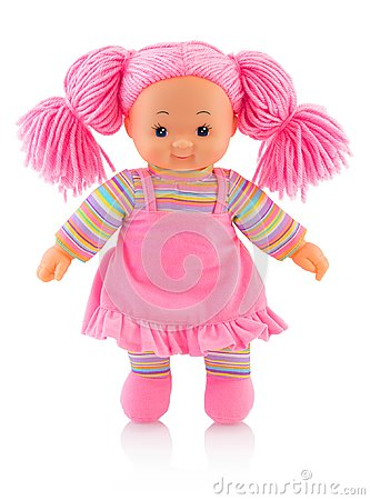 Free Pinky Plushie Doll Isolated On White Background With Shadow Reflection. Nice Contemporary Rag Baby With Pink Hair. Royalty Free Stock Images - 110575279