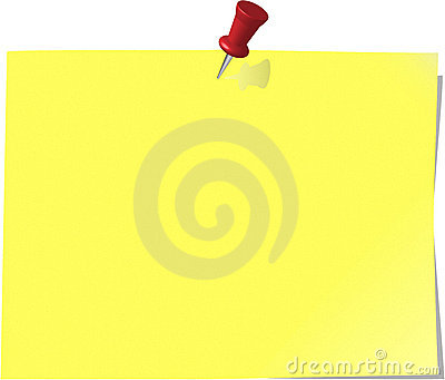 Pinned note paper, canary yellow