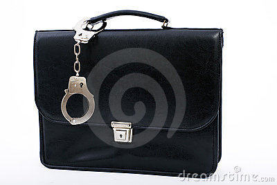 Pinned to bag from metal fastening handcuffs