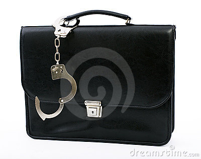 Pinned to black briefcase handcuffs