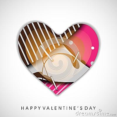 Pino colorido do coração acima, cartão do dia de Valentim