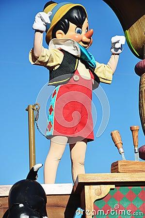 Pinocchio in A Dream Come True Celebrate Parade Editorial Stock Image