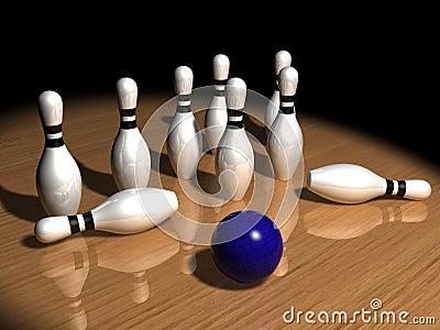 Pins and bowling ball