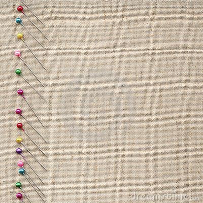Pins on fabric