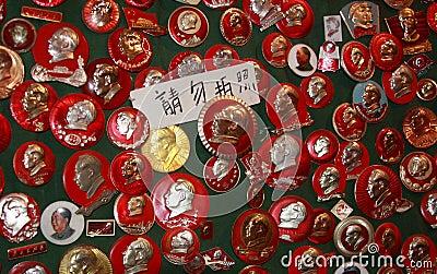 Pins of Mao Tse tung Editorial Stock Image