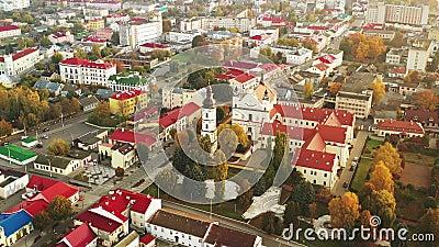 Pinsk, länet Brest, Vitryssland Pinsk Cityscape Skyline på höstmorgon Fågelvy över katalog med namnet på arkivfilmer